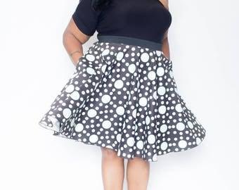 "Plus Size Maxi Skirt Black Green and White Polka Dot plus size High Waist / plus size  2 - 24 ) 28"" L"