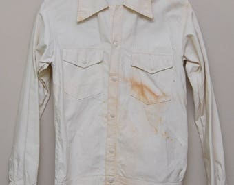 Vintage 1950-60s men's white button up work shirt/ 50-60s men's work shirt