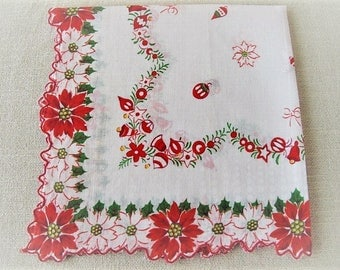 Vintage Christmas Handkerchief, Ladies Cotton Linen Hankie with Poinsettias, Holly, Ornaments and Bells, Vintage Holiday, ECS, FREE Shipping