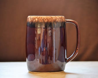 Beer Stein/Brown Drip Beer Mug/Hull Pottery/Vintage Barware/Gift for Beer Drinker/1960-1985