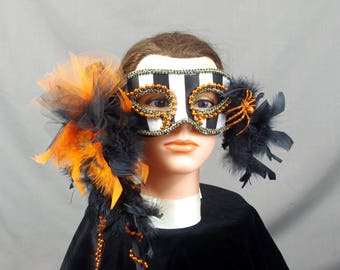 Halloween Mask, Orange and Black Mask, Masquerade Mask, Halloween Costume, Halloween Party, Festival Mask, Carnival Mask, Masquerade Ball
