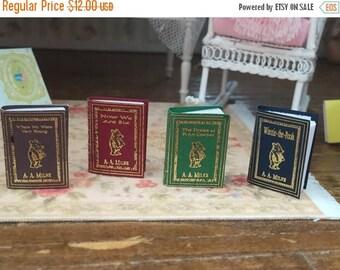 ON SALE Miniature Winnie The Pooh Book Set, AA Milne Miniature Books, Dollhouse Miniatures, 1:12 Scale, Mini Books, 4 Book Set, Milne Winnie