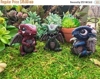 SALE Mini Baby Dragon Figurines, Colorful Dragons, Set of 3, Miniature Garden Decor, Fairy Garden, Enchanted Garden, Topper, Shelf Sitters