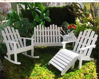SALE Miniature Adirondack Furniture Set, White 5 Pc Set, Dollhouse Miniature Furniture, 1:12 Scale, Miniature Wood Garden Furniture