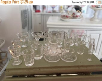 LD SALE Miniature Glasses, Cups, Mugs & More, 22 Pc Set, Style 7352, Miniature Drink Ware, Dollhouse Miniatures, 1:12 Scale, Dollhouse Acces
