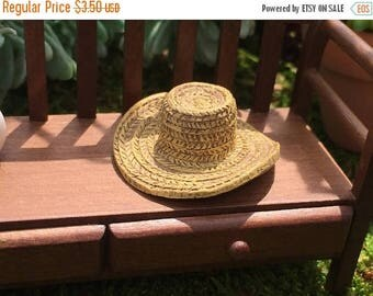 SALE Miniature Hat, Garden Straw Look Hat, Dollhouse Miniature, Miniature Garden, Fairy Garden Accessory, Mini Poly Resin Straw Hat, #8608