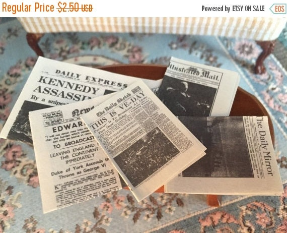 ON SALE Miniature Newspapers, Vintage Newspapers, Dollhouse Miniatures, 1:12 Scale, 5 Pieces, Mini Papers, Dollhouse Accessories, Decor, Min