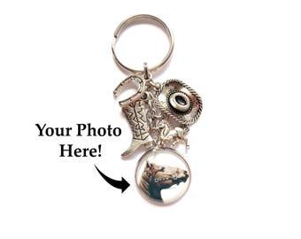 Horse Keychain / Horse Photo Keychain / Custom Photo Keychain / Custom Horse Keychain / Horse Charms Keychain / Horse Jewelry / Horse  Gift