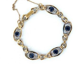 Very Vintage Sterling 12k gf link bracelet w violet stones by JF Sturdy Company tanzanite?