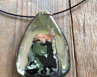 Teardrop graffiti fleck necklace