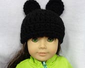 18 Inch Doll Hat, Black Mouse Ears Beanie for American Girl, Winter Cap for Doll, Mickey Mouse Inspired, Gift for Girl, Stocking Stuffer