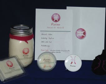 Zodiac Gift Set, PISCES Sign, Soy Waxmelts, Astrology Gift, Keychain, Button, THE FISH