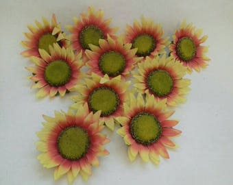 Ten Large Artificial Sun flower  Heads