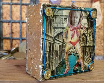 The Frog Girl of Venice:  upcycled, recycled, blue, gold, assemblage original wall or shelf art by Leslee Lukosh of Foundturtle in Portland