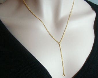 """1 5 10 pcs, Dainty Drop Cable Chain, 18"""" with 2"""" drop, Delicate Lariat Y Necklace Finding, 18k Gold plate 925 Sterling Silver, Y18"""