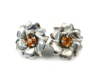 Sterling Silver Rhinestone Flower Earrings - Topaz Rhinestone, Flower Floral, Vintage Earrings, Vintage Jewelry, November Birthday