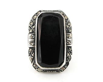Sterling Germany Ring, Art Deco Ring, Marcasite, Onyx, Elongated Large, Statement Ring, Antique Jewelry, Size 5.5