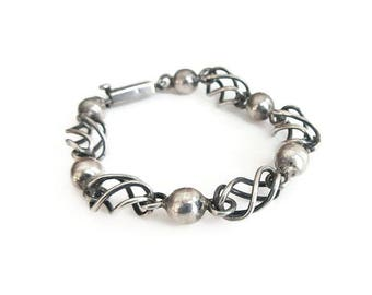 Taxco Mexico Sterling Bracelet - Sterling Silver, Mexican Sterling, Round Ball, Open Work Cage, Modernist Geometric, Vintage Bracelet