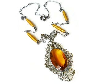 Art Deco Necklace, Citrine Glass, Silver Filigree, Marcasites, Czech Style, Antique Necklace, Antique Jewelry, Vintage Jewelry