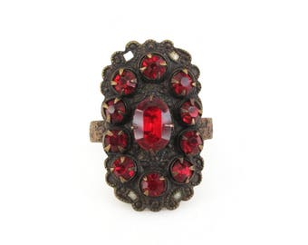 Red Rhinestone Ring, Copper Metal, Art Deco Style, Vintage Ring, Size 8 Adjustable