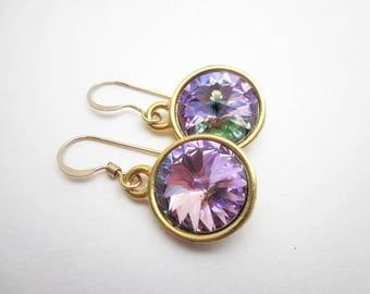 Gold & Pink Purple Earrings -- Pink Rainbow Earrings -- Lavender Swarovski Earrings -- Purple Pink Crystal Dangles -- Vitrail Light Earrings