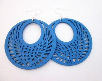 Blue Hoop Earrings -- Royal Blue Earrings -- Big Blue Earrings -- Blue Wooden Earrings -- Blue Wood Dangle Earrings -- Blue Laser Wood