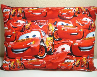 "Travel Pillowcase / 12"" X 16"" / Disney CARS / Adult or Kids Travel Pillowcase / Red Cars Pillow Cover / Happy CARS Pillowcase"