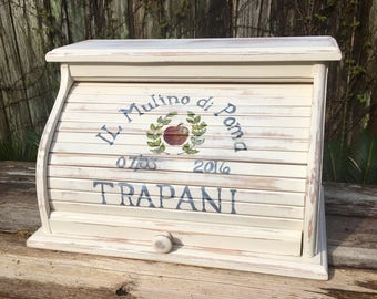 Wedding gift personalized Bread box white distressed customized with apple and lettering aniversary gift