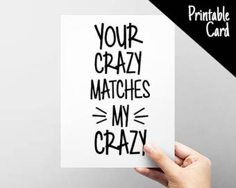 Crazy Love You Card. Anniversary Card for Guys. Crazy Couples Card.