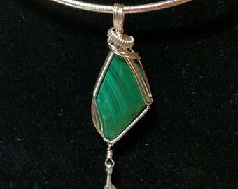 Malachite Pendant wrapped in silver