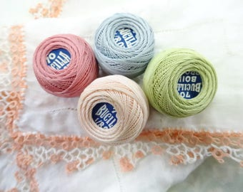 Antique Bucilla Crochet Tatting Cotton Thread Ball Skein Lot (4) Each Pastel Colors Old Notions Handmade Lace Trim Handkerchief