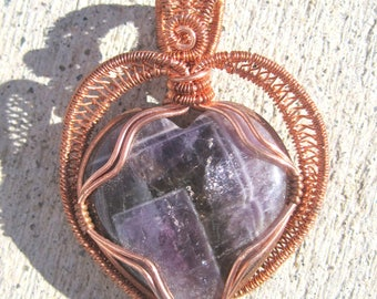 Crystal Vision/Chevron Amethyst Heart, and Copper Wire Wrap Pendant, One of a Kind, Handmade, Art