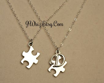 Autism Necklace, Puzzle Piece Necklace, Puzzle Jewelry, Sterling Silver, Autism Speaks, Autism Support, Initial, Personalized, Mom Gift