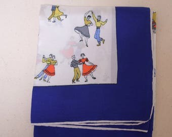 "VTG ""BELL"" Signed Novelty Print Silk Scarf Bobby Soxers Swing Dancers 22"" x 22"""