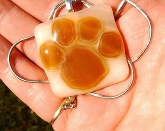 Dog paw pendant - puppy love - pet paw pendant - dog lover gift - fused glass pendant - pet paw - pet paw jewelry - glass art - fused glass