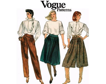 Vogue 8413 Womens Retro Pleated Pants Culottes & Skirt 80s Vintage Sewing Pattern Size 14 Waist 28 Inches