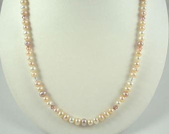 Pearl Necklace Freshwater Pearl Necklace Pearl Crystal Necklace Pearl Bead Necklace Short Pearl Strand Peach White Rose Freshwater Pearls