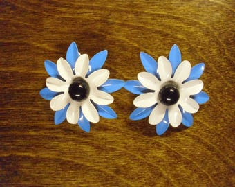 Vintage 1960's  Enamel Flower Earrings
