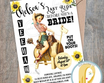 Cowgirl Bachelorette Party Invitation, Cowgirl Boots Invite, Vintage, Pinup Girl, Retro, Sunflower, DIY, Printed or Printable Invites