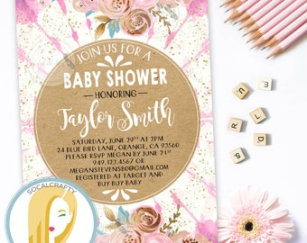 Bohemian Baby Shower Invitation, Boho Invite, Watercolor Floral, Tie Dye, Batik, Pink Blue Gold Leaf, DIY, Printed or Printable Invitations