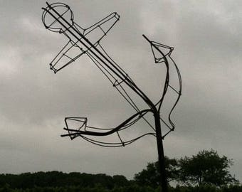 Wire florist form or sculpture - ship anchor