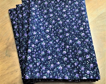 Purple Flowers on Dark Blue Background Reusable Cloth Napkins Set of 4 Double Sided 100% Cotton Eco Friendly Large 20 x 20