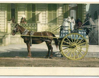Milk Maid Cart New Orleans Louisiana 1910c Phostint postcard