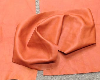 6-902.  Package of 3 Orange Leather Cowhide Remnants