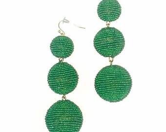Green Seed Bead wrapped Les Bonbon bon bon Earrings 3 Balls Hanging