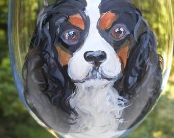 Custom Hand Painted Wine Glass ~ Cavalier King Charles Spaniel ~ Pet Keepsake ~ Anniversary Gift ~ July Birthday