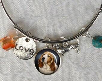 Custom Basset Hound Charm Bracelet ~ Girlfriend Gift ~ Wire Bangle ~ Dog Jewelry ~ From Your Photos