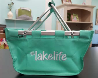 Lake Life LARGE market tote- Mint Basket