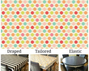 Oilcloth aka laminated cotton heavyweight tablecloth pick fitted by TAILORING or fitted by ELASTIC or DRAPED, Sweet Dots on ivory