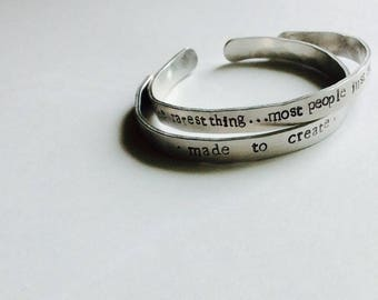 Hand stamped, Hammered Metal Bracelets-Pair